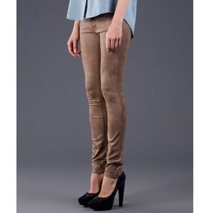 Mother Suede Ankle Skinnies